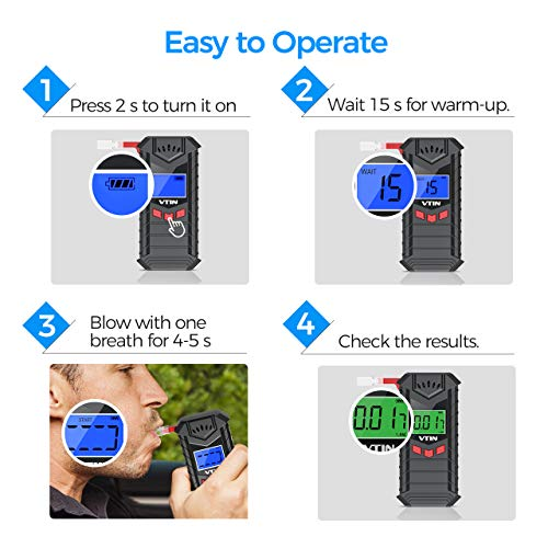 Alcohol Tester, VTIN Rechargeable Breathalyzer, 【Upgraded】Foldable Breathalyser with 10pcs Mouthpieces, Professional-grade Accuracy/Semi-conductor Sensor/LCD Display, Portable for Personal & Home Use