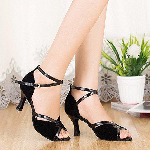 Masocking@ Mujer Zapatos de Baile Sandalias Soft Black7cm