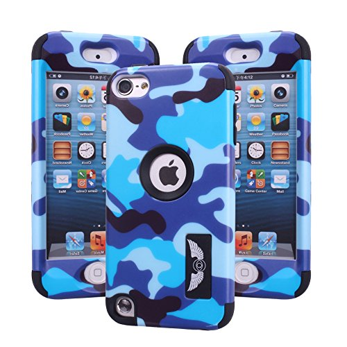 ipod touch 5th generation case, Harsel Dual Layer Hybrid Protective Case and Impact Resistant Case Drop Protecion Silicone Hard Cover for Apple iPod Touch 5th Generation - Blue
