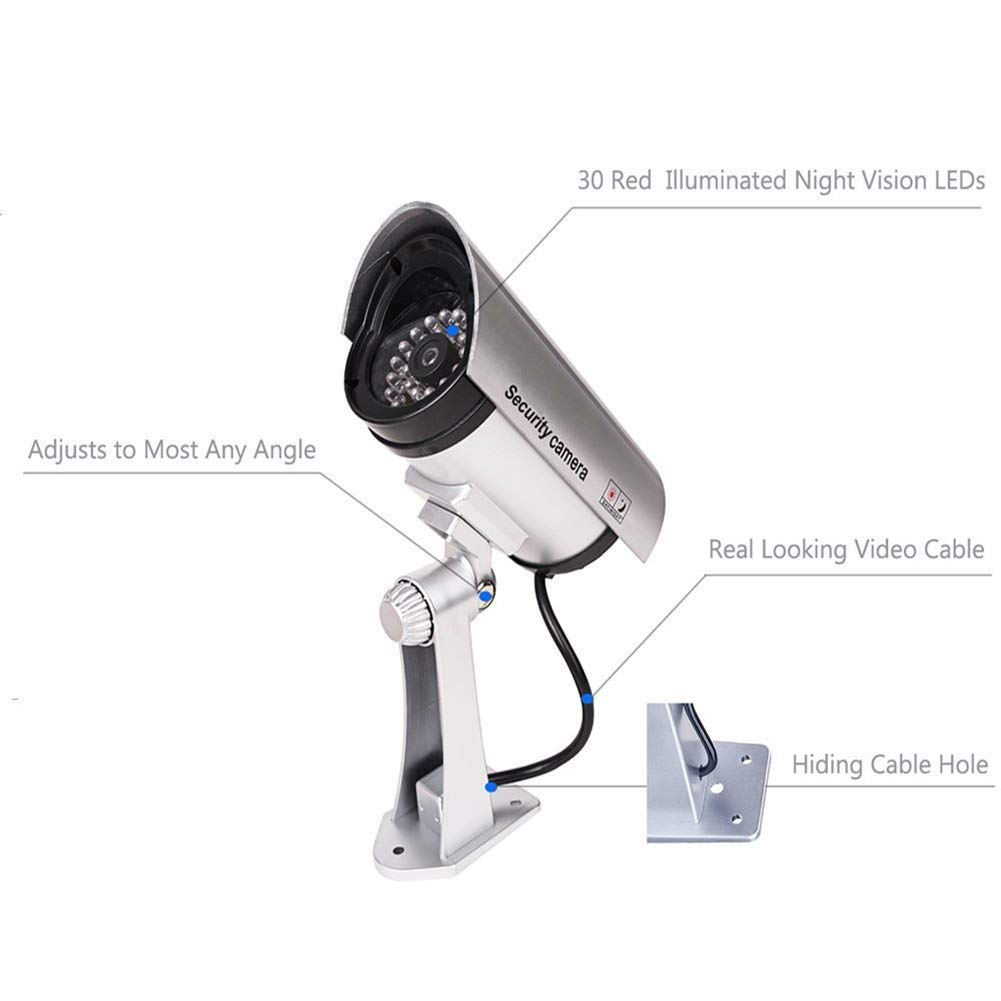 QLPP Fake Security Camera,CCTV Fake Dome Camera,Dummy Fake Security Camera,with 30 Illuminating LEDs, for House, Shopping Mall, Restaurant,4pack by QLPP (Image #2)