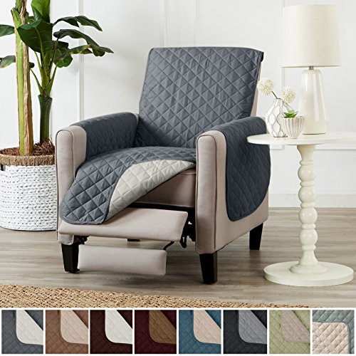 Deluxe Reversible Quilted Furniture Protector. Two Fresh Looks in One. By Home Fashion Designs Brand. (Recliner - Charcoal / Beige), 79