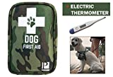 Dog First Aid Kit with Thermometer and Emergency Blanket - Pet Safety Supplies for Camping, Walks, Cycling, Car,Hikes and Hurricane Preparedness. Deluxe for Small and Large Dog. Premium Quality.