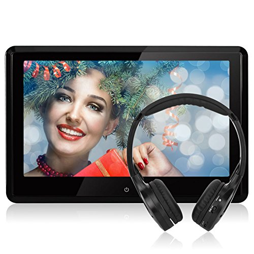 W/ 3 Removable Headrests (NAVISKAUTO Upgraded 10.1 Inch HD 1080P TFT LCD Touch Screen Car Headrest DVD Player Multimedia Player Raspberry Pi Monitor with HDMI Port and IR Headphone and Remote Control and)