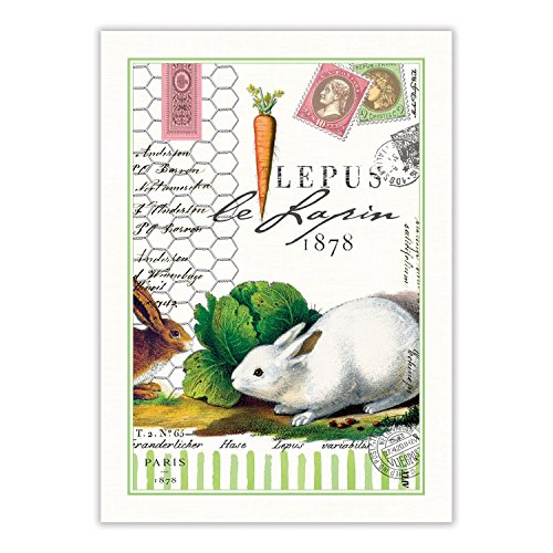 Michel Design Works Bunnies Kitchen Towel, Natural Woven Cotton