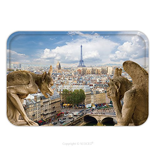 Costume Notre Dame De Paris (Flannel Microfiber Non-slip Rubber Backing Soft Absorbent Doormat Mat Rug Carpet Gargoyle On Notre Dame Cathedral And City Of Paris France 200707244 for Indoor/Outdoor/Bathroom/Kitchen/Workstations)