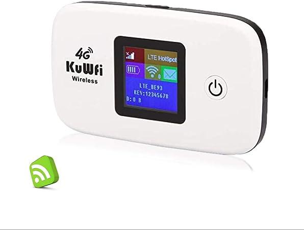 KuWFi Desbloqueado 150Mbps 4G WiFi Router de Viaje Router de Viaje LTE Mobile WiFi Hotspot Soporte 4G Update B1/B3/B7/B8/B20 hasta 10 usuarios de WiFi