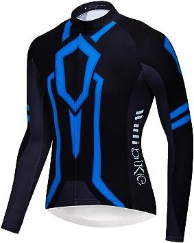 logas kühle Tron Luz Patrón Camiseta de Ciclismo Manga Larga de Bicicleta de montaña de Camisa Azul/Naranja: Amazon.es: Deportes y aire libre