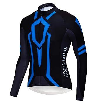logas Cool Tron Light Pattern Cycling Jersey Long Sleeve MTB Bike Shirt  Blue Orange 57efdf031