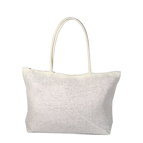 Handbag Straw Bag Shoulder Beach Straw Simple Beach Women Color Shoulder White Shoulder Crossbody White Straw Candy Weave Women Bag Bag Shoulder Beach Tote Bag Zerodis xq1OAwB4x