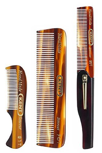 Kent Gentlemen's Comb Set: 81T Beard and Moustache Comb, FOT Pocket Comb, and 20T Folding Pocket Comb with Clip