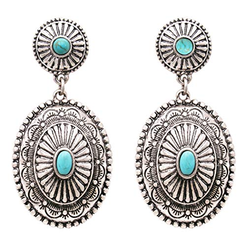 Rosemarie Collections Women's Southwestern Navajo Double Concho Style Turquoise Dangle Drop Statement Earrings