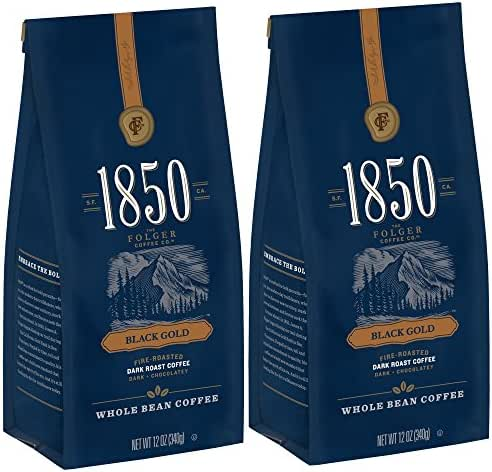 1850 by Folgers Coffee, Black Gold Dark Roast Whole Bean Coffee, 12 Ounces, 2 Count