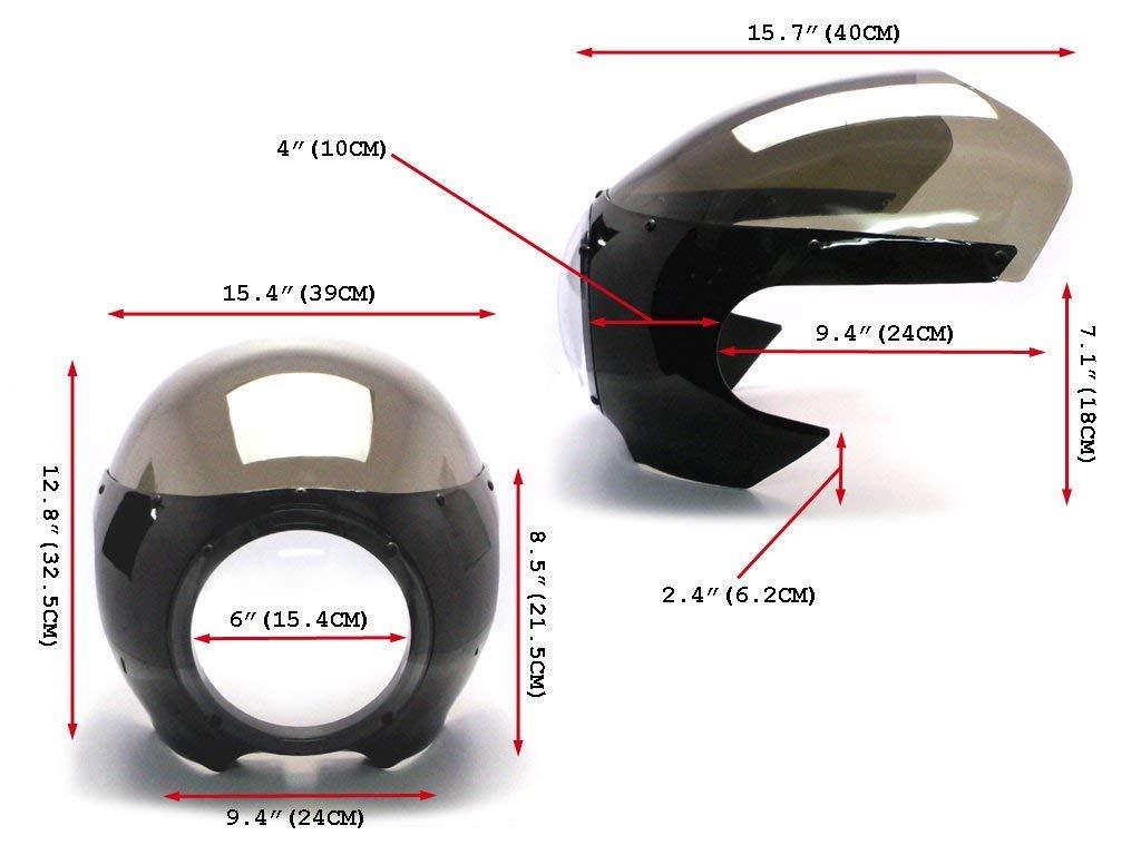 Noir Cafe Racer Car/énage B/énitier avec Teint/é Pare-Brise et 6 3//4  Phare Chrome
