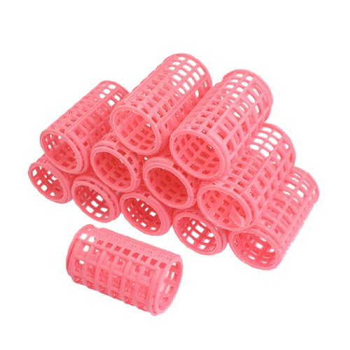Uxcell 12 Piece Plastic DIY Hair Styling Roller Curlers Clips, Pink, 0.29 Pound