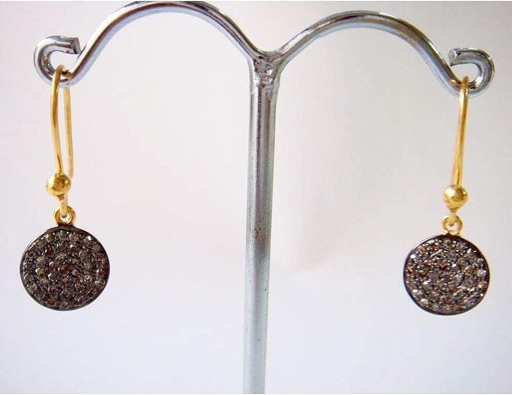 Pave Pendientes de diamantes - Pendientes inspirados en el estilo victoriano de diamantes talla rosa - 925 Pendientes de plata esterlina - Joyas pendientes de diamantes de aniversario