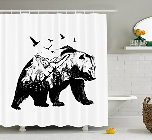 Ambesonne Bear Shower Curtain, Mammal Silhouette with Mountain Landscape Flying Birds and Forest Wildlife Design, Fabric Bathroom Decor Set with Hooks, 70 inches, Black White - Fabric Christmas Bear