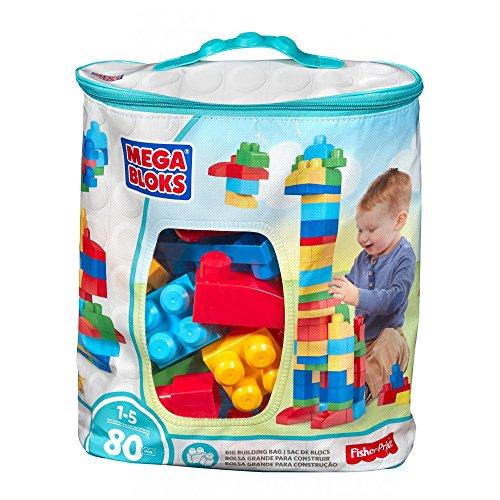 Mega Bloks Early Childhood Development Big Building Bag 80-Piece Classic Blue Building with Storage Bag Set 1-5