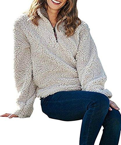 PxmodaWomensWoolPebblePile1/4ZipFleeceSherpaPulloverUnisexSweatshirt (Small, Beige) (Wool Womens Sweatshirt)
