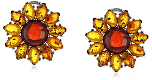 Rhodium Plated Sterling Silver Multicolor Amber Flower Stud Earrings (Amber Earrings Silver Plated)