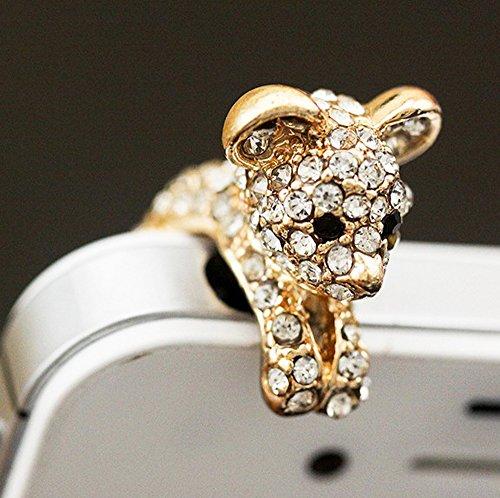 ZOEAST(TM) Luxury Bling Golden Dog Bear Dust Plug 3.5mm Phone Headphone Jack Earphone Ear Cap Dust Plug Charm iPhone 4 4S 5 5S 6 6S 7 Plus Huawei Samsung iPad iPod (Dog)