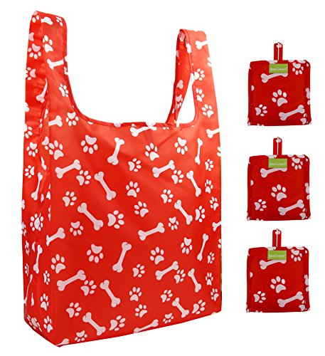 Reusable Grocery Bags Set of 3, Grocery Tote Foldable into Attached Pouch, Ripstop Polyester Reusable Shopping Bags, Washable, Durable and Lightweight (Red Paws and Bones)