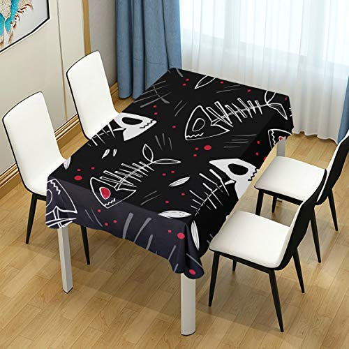 ZOMOY Decor Tablecloth Vector Halloween Pattern Skeletons Fish Bloody Multicolor Rectangular Table Cover for Dining Room Kitchen Outdoor Picnic