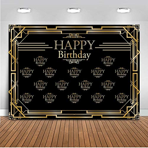 Mocsicka The Great Gatsby Birthday Backdrop 7x5ft Vinyl 1920s Happy Birthday Party Step and Repeat Photo Backdrops Black and Gold Birthday Photography Background -