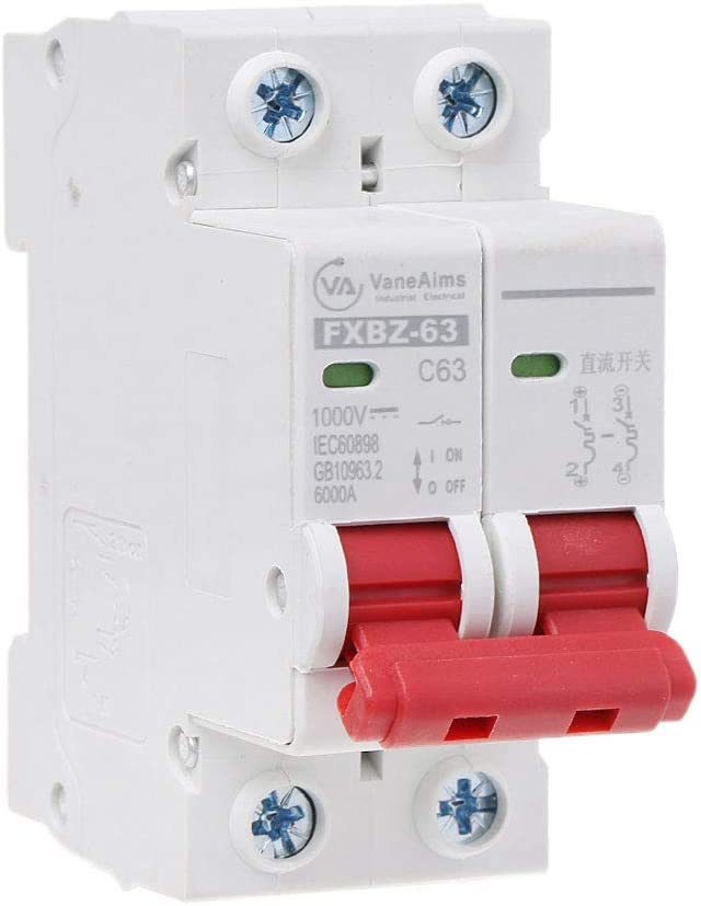 Qiulip 2P DC 1000 V Solar Mini Circuit Breaker 10A//16A//32A//50A//63A DC Photovoltaic MCB