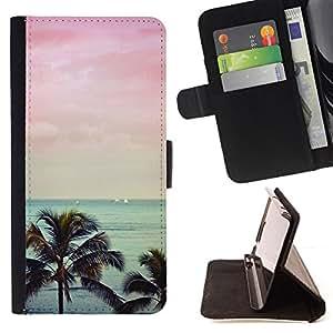 - pink palm trees Florida California sea - - Prima caja de la PU billetera de cuero con ranuras para tarjetas, efectivo desmontable correa para l Funny HouseFOR Samsung Galaxy S6 EDGE