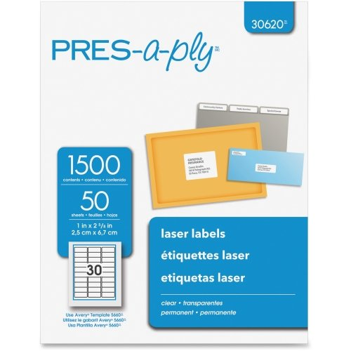 Pres A-ply Standard Address Labels - Avery Pres-A-Ply Standard Address Label - 2.62quot; Width x 1quot; Length - 1500 / Box - Rectangle - Laser - Clear