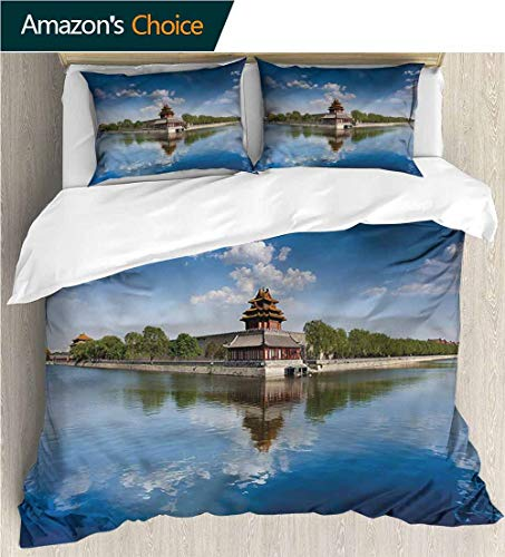 Architecture Ancient China - VROSELV-HOME Full Queen Duvet Cover Sets,Box Stitched,Soft,Breathable,Hypoallergenic,Fade Resistant Kids Bedding-Does Not Shrink Or Wrinkle-Ancient China Architecture History (79