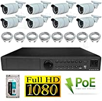 USG 1080P PoE IP CCTV Kit: 8x 1080P IP PoE 3.6mm Bullet Cameras + 1x 24 Channel 1080P NVR + 1x 3TB HDD + 8x Ethernet Cables*** High Definition Video Surveillance For Your Home or Business!