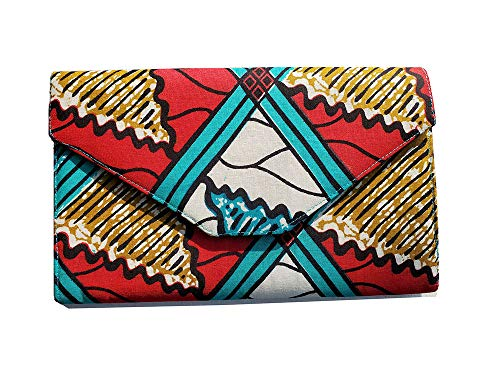 Red, Turquoise, white African Print Clutch Purse (Bag African Print)