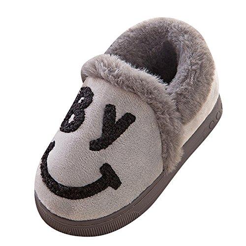 Chaud Bg enfant Chaussures Gris Antidérapant Parent Smiley Intérieur Chaussons Slipers Pantoufles H4Eq6