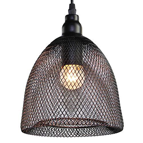 LNC A03170 - Lámpara de techo colgante de malla de alambre, E26, color neg