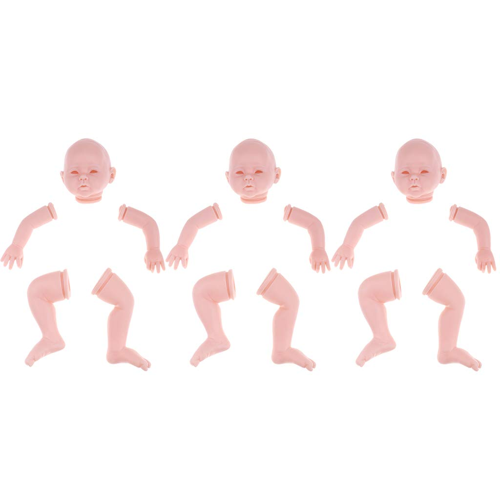 Homyl 3 Set 20inch Unborned Kits Reborn Kit Baby Doll Head 3 4 Arms Gambe Complete