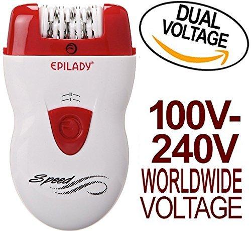 Epilady Corded Epilator - Epilady Speed Corded Epilator EP-810-44 with Dual Voltage 100-240V Power Supply Adapter & International Two-Prong Round Pin Plug Adapter (Bundle)