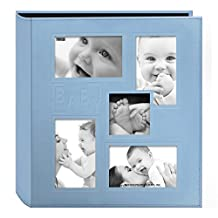 "Pioneer Photo Albums Collage Frame Embossed ""Baby"" Sewn Leatherette Cover Photo Album, Baby Blue"