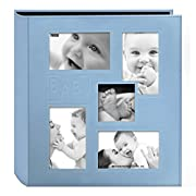 Pioneer Collage Frame Embossed Baby  Sewn Leatherette Cover Photo Album, 4 x6 , 240 Photos, Baby Blue