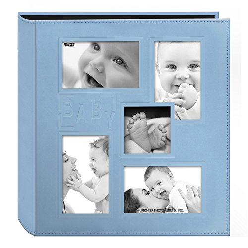 Pioneer Collage Frame Embossed 'Baby' Sewn Leatherette Cover Photo Album, 4'x6', 240 Photos, Baby Blue