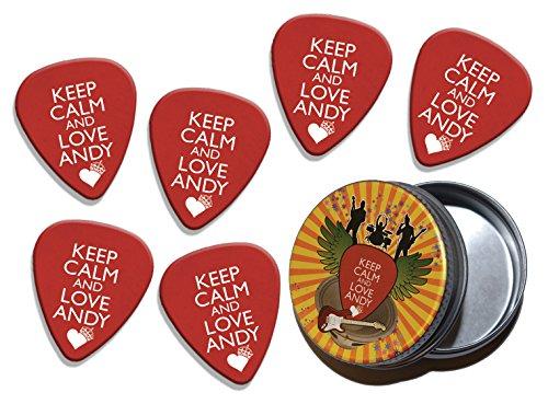 Keep Calm And Love Andy Biersack Black Veil Brides 6 X Logo Guitar Picks & Stash Tin (GD) ()