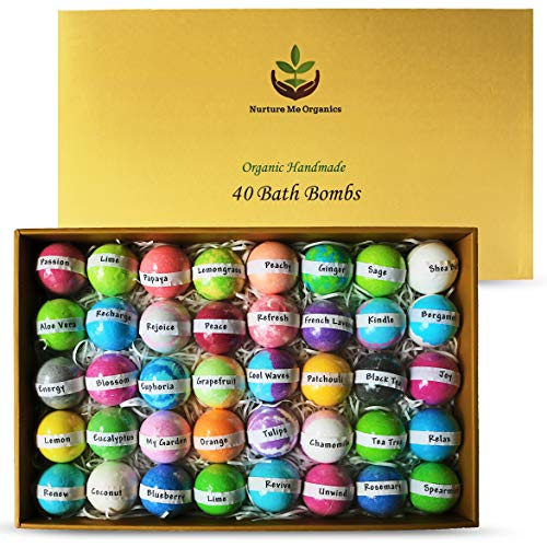 (Natural Bath Bombs Gift Set - Nurture Me Organic 40 Bath Bombs for Kids & Adults Infused with Essential Oils! Individually Wrapped Lush Bath Bomb Gift Set for Women & Kids!)