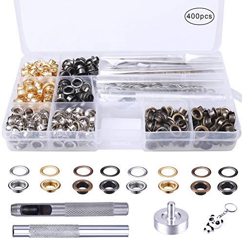 FASHIONROAD 400 Sets 1/4 Inch Grommets Kit, Metal Eyelets Set with Install Tools Kit in Storage Box for Clothes Shoes Bag Crafts DIY Projects(4 Colors)