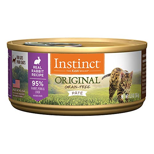 Instinct Original Grain Free Real Rabbit Recipe Natural Wet Canned Cat Food by Nature's Variety, 5.5 oz. Cans (Case of - Cat Grain Free Food Rabbit