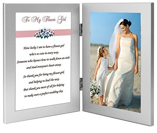 Flower Girl Wedding Gift From Bride - Cute Poem in Double Frame - Add Photo (A Cute Poem For A Cute Girl)