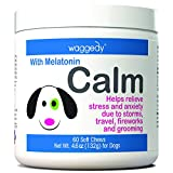Calming Chews for Dogs, Tasty Treats Provide Stress & Anxiety Relief for Dogs During Separation, and Times of Fear - 60 Canine Melatonin Calm Aid Supplements w/Passionflower & Chamomile (4.06 oz.) Larger Image