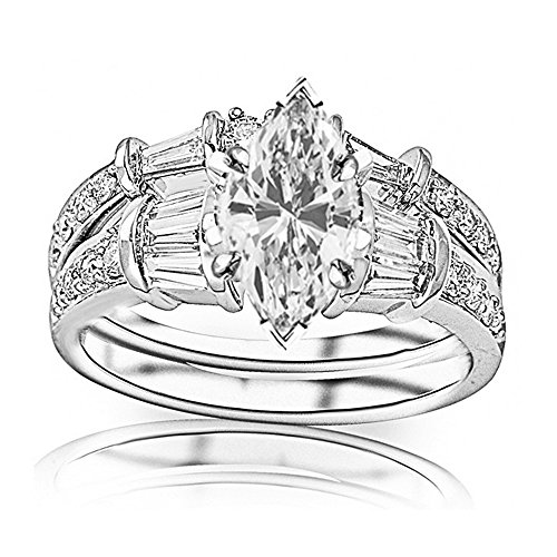 1.58 Carat t.w. GIA Certified Marquise Cut 14K White Gold Baguette and Round Brilliant Diamond Engagement Ring and Wedding Band Set (I-J Color VS1-VS2 Clarity Center Stones)