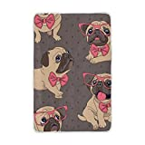 Vantaso Soft Blankets Throw Cute Pug Dog with Glasses Grey Microfiber Polyester Blankets for Bedroom Sofa Couch Living Room for Kids Children Girls Boys 60 x 90 inch