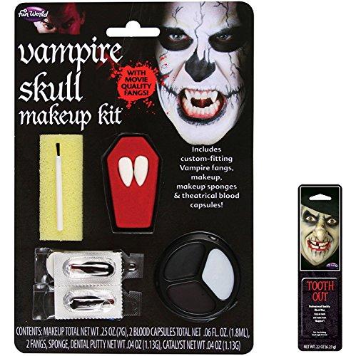 Potomac Banks Bundle: 2 Items - Skull Vampire Fang Character Kit and Free Pack of Makeup -