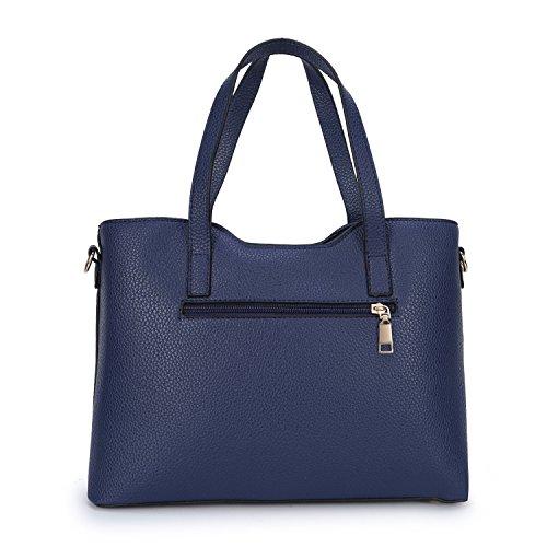 Dos Bolso Tote de Bandolera Bolso PU Mujer Piezas Azul CLOCOLOR Conjunto Grande Hombro de Cuero 7fq54xaTn